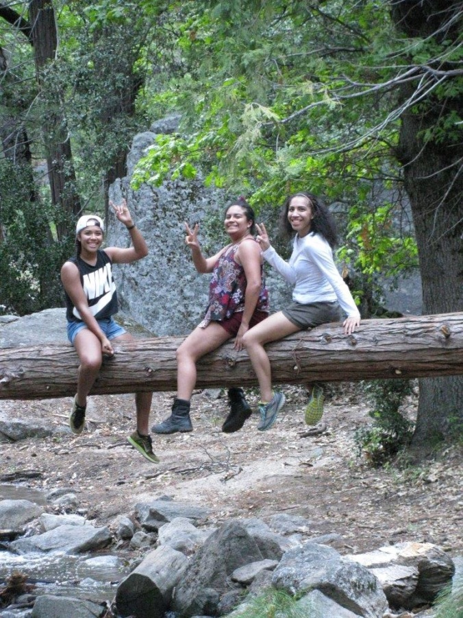 Girls on log